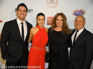 LOS ANGELES, CA - NOVEMBER 19: (L-R) Television personalities Josh Murray and Andi Dorfman, actress Catherine Bach and Chairman of the Eagle & Badge Foundation Peter Repovich arrive at the 2014 Eagle & Badge Foundation Gala at the Hyatt Regency Century Plaza on November 19, 2014 in Los Angeles, California. (Photo by Kyle Espeleta/Getty Images)