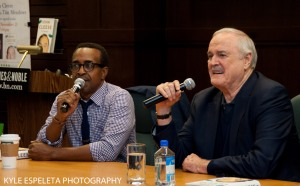 LOS ANGELES, CA - NOVEMBER 21: (L-R) Tim Meadows and John Cleese discuss John Cleese's new book 'So, Anyway' at Barnes & Noble bookstore at The Grove on November 21, 2014 in Los Angeles, California. (Photo by Kyle Espeleta/FilmMagic) *** Local Caption *** Tim Meadows; John Cleese